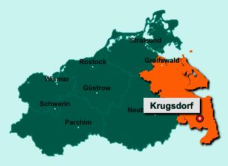 Der Lageplan von 17309 Krugsdorf zeigt die Position im Landkreis Vorpommern-Greifswald - Der Ort liegt im Bundesland Mecklenburg-Vorpommern