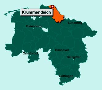 Die Karte von Krummendeich zeigt die Lage im Landkreis Stade - Der Ort 21732 Krummendeich liegt im Bundesland Niedersachsen