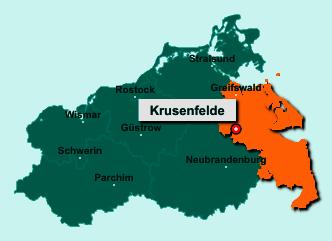 Die Karte von Krusenfelde zeigt die Lage im Landkreis Vorpommern-Greifswald - Der Ort 17391 Krusenfelde liegt im Bundesland Mecklenburg-Vorpommern