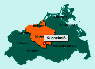 Die Karte von Kuchelmiß zeigt die Lage im Landkreis Rostock - Der Ort 18292 Kuchelmiß liegt im Bundesland Mecklenburg-Vorpommern
