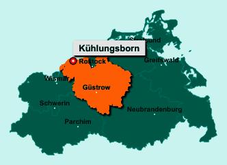 Der Lageplan von 18225 Kühlungsborn zeigt die Position im Landkreis Rostock - Der Ort liegt im Bundesland Mecklenburg-Vorpommern