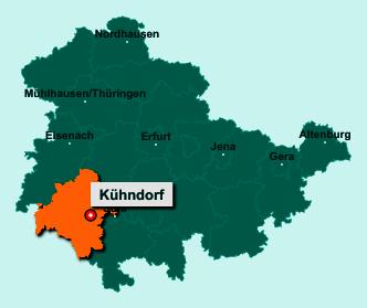 Der Lageplan von 98547 Kühndorf zeigt die Position im Landkreis Schmalkalden-Meiningen - Der Ort liegt im Bundesland Thüringen