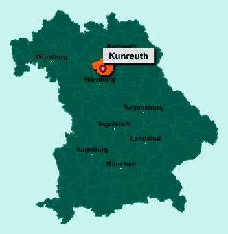 Die Karte von Kunreuth zeigt die Lage im Landkreis Forchheim - Der Ort 91358 Kunreuth liegt im Bundesland Bayern