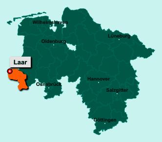 Die Karte von Laar zeigt die Lage im Landkreis Grafschaft Bentheim - Der Ort 49824 Laar liegt im Bundesland Niedersachsen