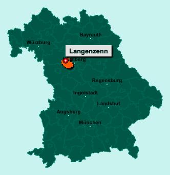 Der Lageplan von 90579 Langenzenn zeigt die Position im Landkreis Fürth - Der Ort liegt im Bundesland Bayern