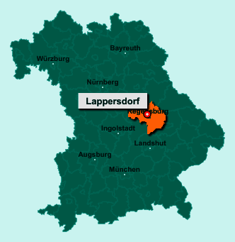 Der Lageplan von 93138 Lappersdorf zeigt die Position im Landkreis Regensburg - Der Ort liegt im Bundesland Bayern