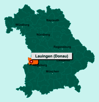 Die Karte von Lauingen (Donau) zeigt die Lage im Landkreis Dillingen an der Donau - Der Ort 89415 Lauingen (Donau) liegt im Bundesland Bayern
