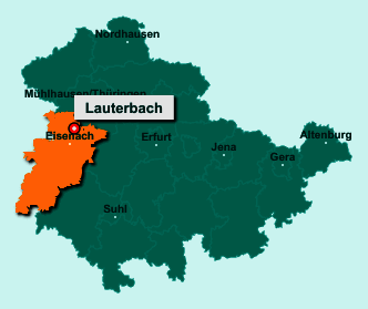 Die Karte von Lauterbach zeigt die Lage im Wartburgkreis - Der Ort 99826 Lauterbach liegt im Bundesland Thüringen