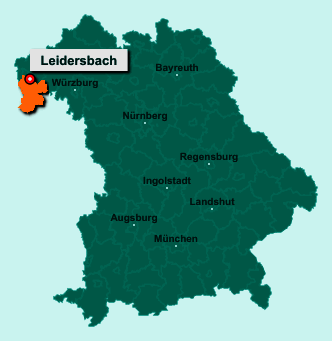 Die Karte von Leidersbach zeigt die Lage im Landkreis Miltenberg - Der Ort 63849 Leidersbach liegt im Bundesland Bayern