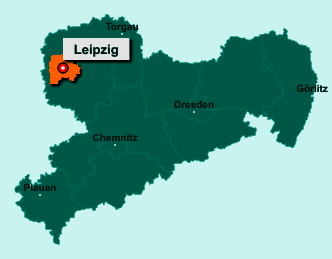 Die Karte von Leipzig zeigt die Lage im Bundesland Sachsen - Leipzig ist eine kreisfreie Stadt