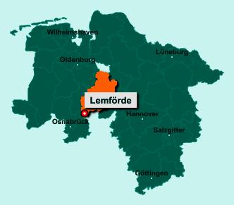 Die Karte von Lemförde zeigt die Lage im Landkreis Diepholz - Der Ort 49448 Lemförde liegt im Bundesland Niedersachsen