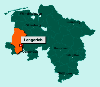 Die Karte von Lengerich zeigt die Lage im Landkreis Emsland - Der Ort 49838 Lengerich liegt im Bundesland Niedersachsen