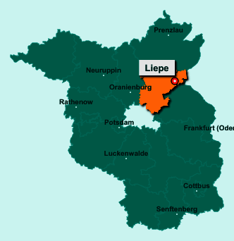 Der Lageplan von 16248 Liepe zeigt die Position im Landkreis Barnim - Der Ort liegt im Bundesland Brandenburg