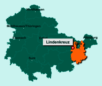 Die Karte von Lindenkreuz zeigt die Lage im Landkreis Greiz - Der Ort 07589 Lindenkreuz liegt im Bundesland Thüringen