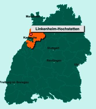 Der Lageplan von 76351 Linkenheim-Hochstetten zeigt die Position im Landkreis Karlsruhe - Der Ort liegt im Bundesland Baden-Württemberg