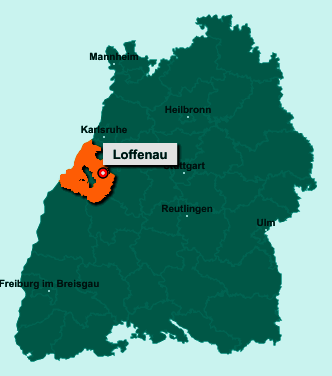 Die Karte von Loffenau zeigt die Lage im Landkreis Rastatt - Der Ort 76597 Loffenau liegt im Bundesland Baden-Württemberg
