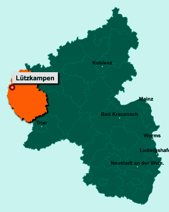 Der Lageplan von 54617 Lützkampen zeigt die Position im Eifelkreis Bitburg-Prüm - Der Ort liegt im Bundesland Rheinland-Pfalz