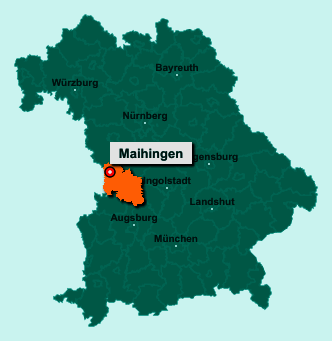 Die Karte von Maihingen zeigt die Lage im Landkreis Donau-Ries - Der Ort 86747 Maihingen liegt im Bundesland Bayern