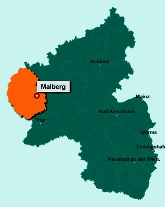 Der Lageplan von 54655 Malberg zeigt die Position im Eifelkreis Bitburg-Prüm - Der Ort liegt im Bundesland Rheinland-Pfalz