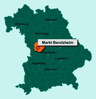 Die Karte von Markt Berolzheim zeigt die Lage im Landkreis Weißenburg-Gunzenhausen - Der Ort 91801 Markt Berolzheim liegt im Bundesland Bayern