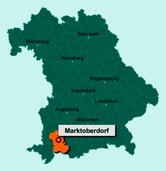 Der Lageplan von 87616 Marktoberdorf zeigt die Position im Landkreis Ostallgäu - Der Ort liegt im Bundesland Bayern