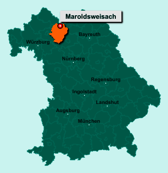 Der Lageplan von 96126 Maroldsweisach zeigt die Position im Landkreis Haßberge - Der Ort liegt im Bundesland Bayern