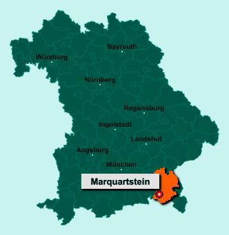 Der Lageplan von 83250 Marquartstein zeigt die Position im Landkreis Traunstein - Der Ort liegt im Bundesland Bayern