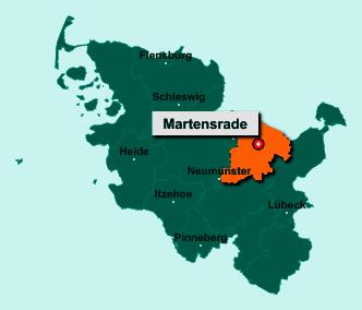 Die Karte von Martensrade zeigt die Lage im Kreis Plön - Der Ort 24238 Martensrade liegt im Bundesland Schleswig-Holstein