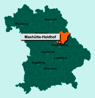 Die Karte von Maxhütte-Haidhof zeigt die Lage im Landkreis Schwandorf - Der Ort 93142 Maxhütte-Haidhof liegt im Bundesland Bayern