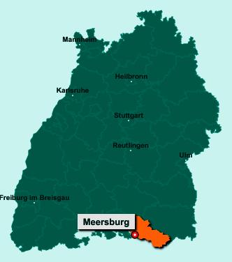 Der Lageplan von 88709 Meersburg zeigt die Position im Bodenseekreis - Der Ort liegt im Bundesland Baden-Württemberg