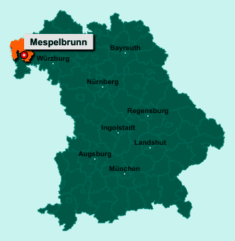 Die Karte von Mespelbrunn zeigt die Lage im Landkreis Aschaffenburg - Der Ort 63875 Mespelbrunn liegt im Bundesland Bayern
