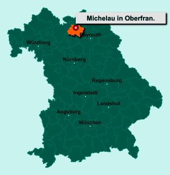 Die Karte von Michelau in Oberfranken zeigt die Lage im Landkreis Lichtenfels - Der Ort 96247 Michelau in Oberfranken liegt im Bundesland Bayern