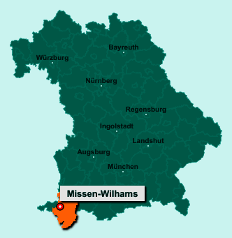 Die Karte von Missen-Wilhams zeigt die Lage im Landkreis Oberallgäu - Der Ort 87547 Missen-Wilhams liegt im Bundesland Bayern