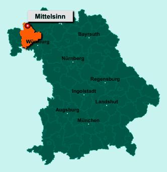 Die Karte von Mittelsinn zeigt die Lage im Landkreis Main-Spessart - Der Ort 97785 Mittelsinn liegt im Bundesland Bayern