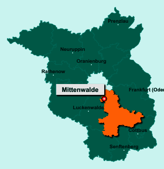 Der Lageplan von 15749 Mittenwalde zeigt die Position im Landkreis Dahme-Spreewald - Der Ort liegt im Bundesland Brandenburg