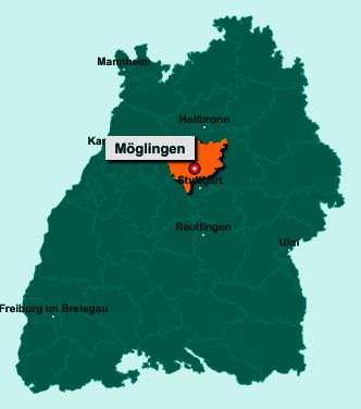 Die Karte von Möglingen zeigt die Lage im Landkreis Ludwigsburg - Der Ort 71696 Möglingen liegt im Bundesland Baden-Württemberg