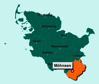 Die Karte von Möhnsen zeigt die Lage im Kreis Herzogtum Lauenburg - Der Ort 21493 Möhnsen liegt im Bundesland Schleswig-Holstein