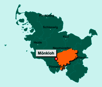 Die Karte von Mönkloh zeigt die Lage im Kreis Segeberg - Der Ort 24576 Mönkloh liegt im Bundesland Schleswig-Holstein