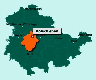 Der Lageplan von 99869 Molschleben zeigt die Position im Landkreis Gotha - Der Ort liegt im Bundesland Thüringen
