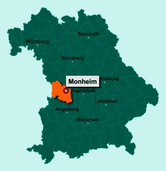Der Lageplan von 86653 Monheim zeigt die Position im Landkreis Donau-Ries - Der Ort liegt im Bundesland Bayern