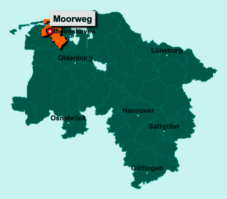 Der Lageplan von 26427 Moorweg zeigt die Position im Landkreis Wittmund - Der Ort liegt im Bundesland Niedersachsen