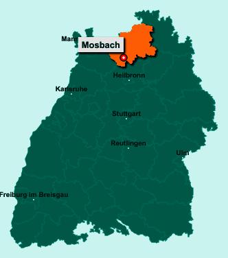 Der Lageplan von 74821 Mosbach zeigt die Position im Neckar-Odenwald-Kreis - Der Ort liegt im Bundesland Baden-Württemberg