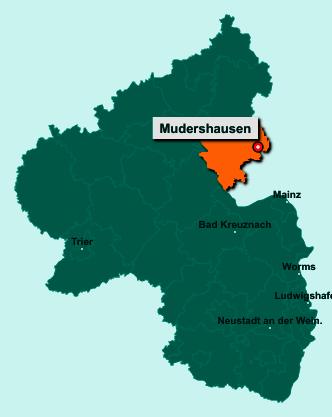 Die Karte von Mudershausen zeigt die Lage im Rhein-Lahn-Kreis - Der Ort 65623 Mudershausen liegt im Bundesland Rheinland-Pfalz