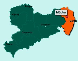 Die Karte von Mücka zeigt die Lage im Landkreis Görlitz - Der Ort 02906 Mücka liegt im Bundesland Sachsen