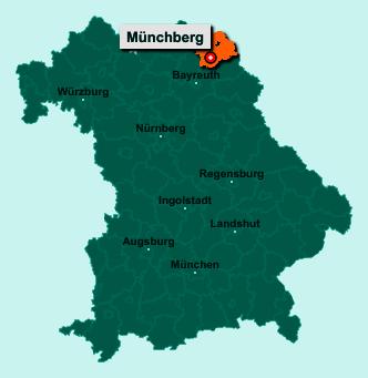 Die Karte von Münchberg zeigt die Lage im Landkreis Hof - Der Ort 95213 Münchberg liegt im Bundesland Bayern
