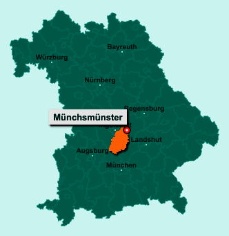 Der Lageplan von 85126 Münchsmünster zeigt die Position im Landkreis Pfaffenhofen an der Ilm - Der Ort liegt im Bundesland Bayern