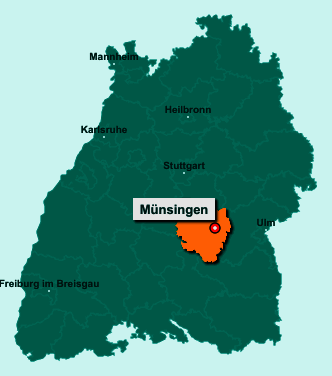 Der Lageplan von 72525 Münsingen zeigt die Position im Landkreis Reutlingen - Der Ort liegt im Bundesland Baden-Württemberg