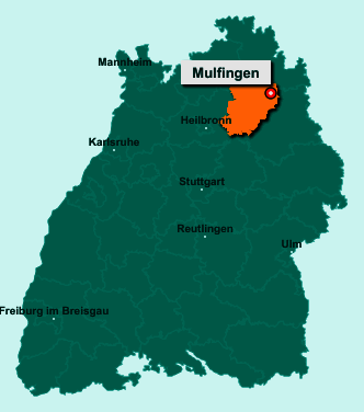 Der Lageplan von 74673 Mulfingen zeigt die Position im Hohenlohekreis - Der Ort liegt im Bundesland Baden-Württemberg