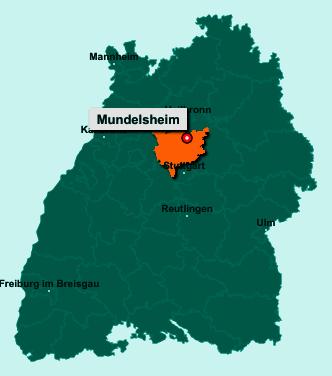Der Lageplan von 74395 Mundelsheim zeigt die Position im Landkreis Ludwigsburg - Der Ort liegt im Bundesland Baden-Württemberg