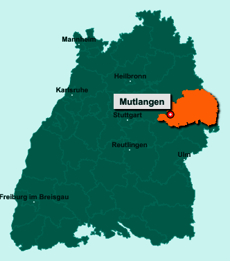 Die Karte von Mutlangen zeigt die Lage im Ostalbkreis - Der Ort 73557 Mutlangen liegt im Bundesland Baden-Württemberg